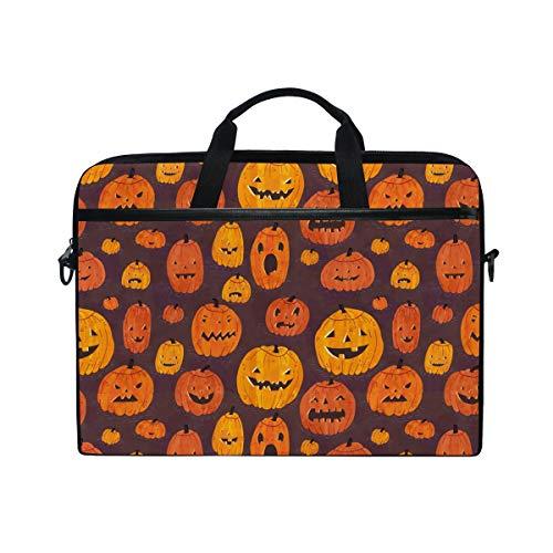 Bennigiry Halloween-Kürbis-Laptoptasche, Schultertasche, Aktentasche, für 38,1-39,62 cm (15-15,4 Zoll)