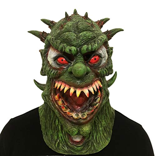 J&A Halloween Horror Variation Monster Maske, Cosplay Latex Biochemische Monster Kopf Maske Für Festival Dance Parties Kostüm,Green (Green Monster Kostüm)
