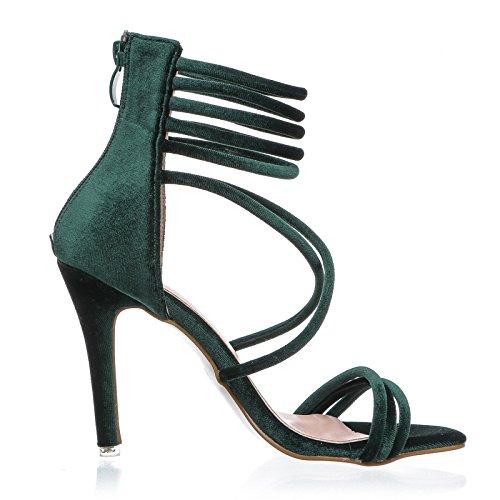 Zormey Lala Ikai 2017 Sexy High Heels Sandals Green Velvet Frauen Sandalen Gladiator Sandalen Frauen Sommer Party Schuhe 014 F 1074-4 6