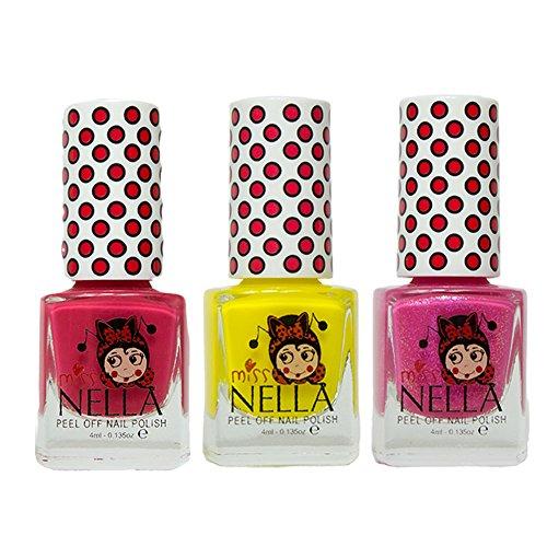 Miss Nella Cherry-Makronen, Sun Kissed, Tickle Me Pink spezielle Glitzer Kinder Nagellack mit Peel Off auf Wasserbasis Formel -