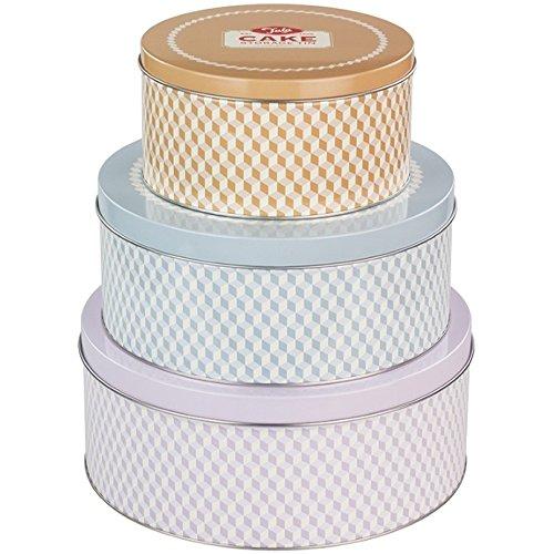 Tala Boîtes à gâteaux Retro - Design Rond, Fer-Blanc, Mixte, 25 x 25 x 10 cm