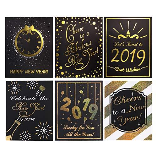 BESTOYARD 2019 Jahr Weinflasche Etiketten Einzigartige Weinflasche Aufkleber für Neujahr Party Dekoration 18 STÜCKE (Ideen Silvester Dekoration 2019)