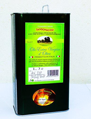 3 Litre - de Extra Huile D'Olive Vierge Italienne Puglia Salento