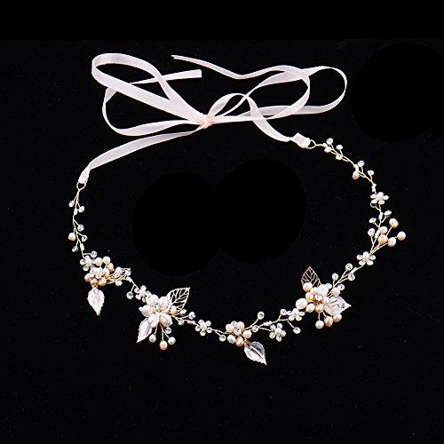 Haarschmuck von Oshide Blättern und Blumen Weiß Perlengirlande mit Strass Braut Braut Haarschmuck - 4