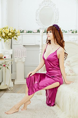 Shangrui Femmes Transparent Fun Pyjamas Silky Satin Nightgowns Sling Lingerie W458 Violet