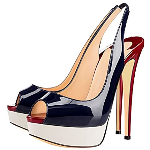 Cuckoo Dames en cuir à bride arrière Platform Pumps High Heels BlackSilver EU37.5