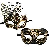 Xvevina Lot de 2 masques vénitiens pour homme et femme pour mascarade/fête/bal/bal/mardi...