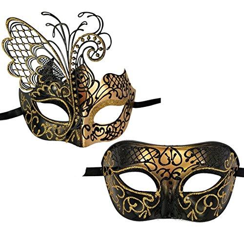 Xvevina Maskenbälle für Sie und Ihn, Venezianische Maske für Maskenball, Party, Ball, Ball, Mardi, Gras, Hochzeit, Wanddekoration, Schmetterling, Paar, Schwarz, Gold, 2 ()
