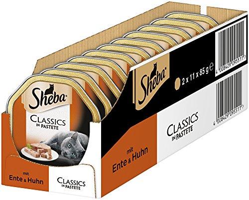 Sheba Classics in Pastete, Katzenfutter als Pasteten mit feinen Stückchen, Für jeden Tag -