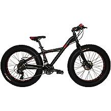 Cicli Cinzia Fat-Bike Bicicleta montaña para Hombre, 21 velocidades, Negro/Rojo