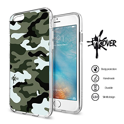 Cover iPhone 6 PLUS , Cover iPhone 6S PLUS - INKOVER - Custodia Cover Protettiva Guscio Soft Case Bumper Trasparente Sottile Slim Fit Tpu Gel Morbida INKOVER POKER DESIGN Carte Gioco Azzardo Texas Hol CAMOUFLAGE 5