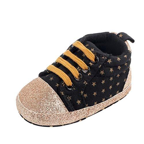 Turnschuhe Babyschuhe Neugeborenen Leder T-Strap Schuhe Sportschuh Jungen Lauflernschuhe Mädchen Krippeschuhe Krabbelschuhe Streifen-beiläufige Wanderschuhe LMMVP (Schwarz, 11(0-6Monate))