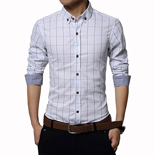 Gfirmament Men's Dress Shirts Cotton Long Sleeve Plaid Slim Fit Casual Snap Buttons Plaid Dress Shirts