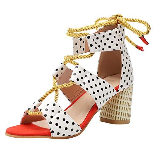 Sandalen Sommer High Heels Blockabsatz Damen Riemchensandalen Offene Pumps Elegante Schuhe Cross Strap Bunt Hochzeit Abiball 6.5 cm Heel Blau Orange Rosa Punkt 35-43 EU Punkt 41 -