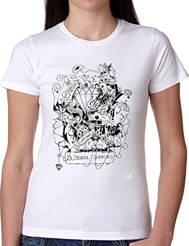 T SHIRT JODE GIRL GGG22 Z0674 DIAMOND TATTOO INK OLD SCHOOL FUNNY FASHION COOL BIANCA - WHITE
