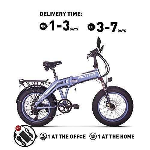 RICH BIT RT016 48V * 500 vatios Bicicleta eléctrica Bicicleta de montaña Bicicleta Plegable de 20 Pulgadas 9.6 Ah LG batería de Litio 4.0 Pulgadas Fat Tire Bicicleta (Gray)