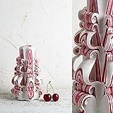 Dekorativ geschnitzte Kerze - Mittel, Weiß und rote Streifen - sanfte Farben - EveCandles