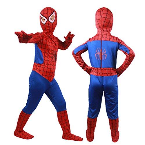 Nihiug Cosquet Masquerade Kinderbekleidung Tight Elastic Handschuhe Schuhbezüge Siamese Extra Spider-Man Kostüm Vorbereiten Für Mädchen (Handschuhe Kostüme Erwachsene Spiderman)