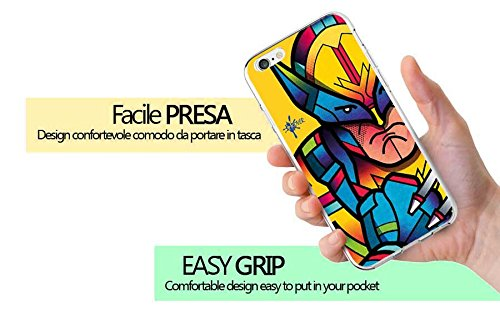 Cover iPhone 6 / 6S - INKOVER - Custodia Cover Protettiva Guscio Soft Case Bumper Trasparente Sottile Slim Fit Tpu Gel Morbida INKOVER Design JOKER Smile Cavaliere Oscuro Bat Man per APPLE iPhone 6 /  OLD SCHOOL 5