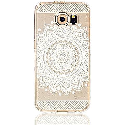 TKSHOU Accessorio Caso Case Cover TPU Silicone per Samsung Galaxy S6 Custodia Conchiglia Trasparente Antigraffio Antiurto Protezione Cellulare Bello modello Dipinto - Henna completa Mandala Floral Dream Catcher