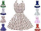 Kochschürze Sexy Küchenschürze Retro Schürze Vintage PIN UP Damen Schürze Petticoat Dots Frau, Farbe:Weiß Erdbeere