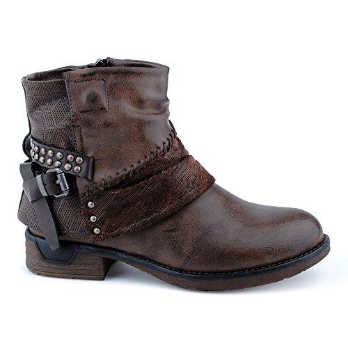 Damen Stiefeletten Stiefel Nieten Schnalle Reißverschluss Blockabsatz Muster Biker Boots Schuhe Braun