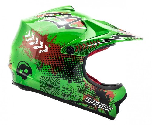 ARROW HELMETS AKC-49 Green Moto-Cross-Helm Cross-Helm Kinder-Cross-Helm Helmet Sport Junior Kids Quad Pocket-Bike Enduro MX Motorrad-Helm Cross-Bike Kinder-Helm, DOT zertifiziert, inkl. Stofftragetasche, Grün, S (53-54cm) -