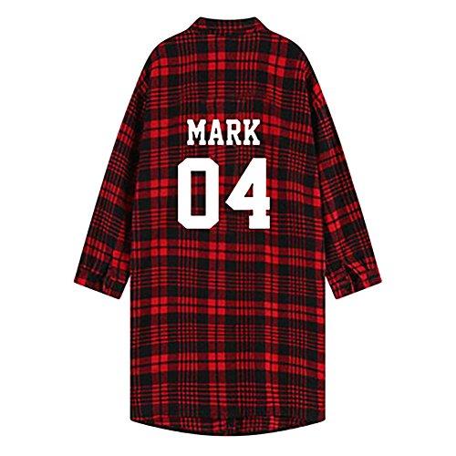 Discovery GOT7 Bangtan Boys Red Lattice Shirt with Fleece Jackson Bambam Mark JB Jr. Young JAE