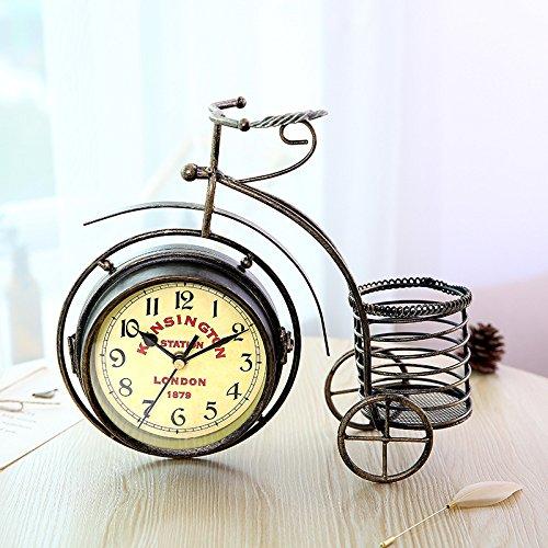 Horloges murales à double face 12 cm vélo décoration de la maison style rétro silencieux et non-coutil Grand cadran à quartz horloges pour salon / chambre à coucher à piles