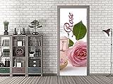 GRAZDesign 791588_67x213 Tür-Bild Spruch Rose mit Badesalz | Aufkleber für Wohnzimmer/Bad | Türfolie Selbstklebend (67x213cm//Cuttermesser)