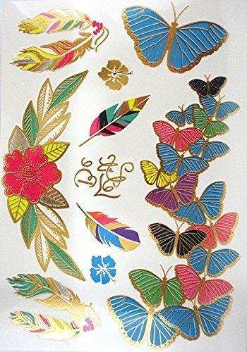 Tatouages Temporaires éphèmere papillons couleurs et doré PROMO TATOUAGES (si vous désirez achetez plusieurs planches : 2 achetées au choix = 2 gratuites en plus au choix. 3 achetées au choix = 3 gratuites en plus au choix. 4 achetés au choix = 4 gratuites en plus au choix. 5 achetés au choix = 5 gratuites en plus au choix). TATOUAGES METALLIQUES TEMPORAIRES DOREE ET ARGENTEE NON TOXIQUE. Waterproof.