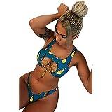 SHOBDW Damen Mode Elegant Ananas Drucken Split Badeanzug Frauen Sommer Strand Schwimmbad Sexy Hohl Kreuz Schnür Vorne schwingen Bademode Strandkleidung Badebekleidung Mode Bikini Set