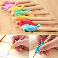 Bluelans® 10pcs Pencil Grips Silicon Universal Ergonomic Hand Writing Aid Dolphin Style Pen Holder for Right Handed Kids Students Adults the Aged (Random Colour)