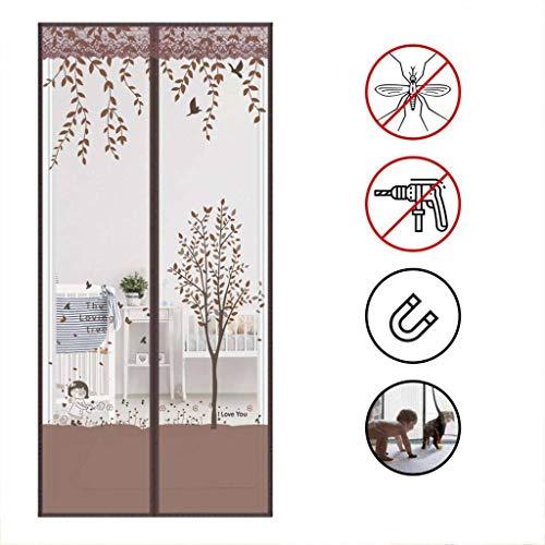 CHENG Fliegengitter für Tür, Fiberglasgewebe, Klettband Fliegen Netz ohne Bohren Vorhang für Balkontür Wohnzimmer 70×210cm(28×83inch)