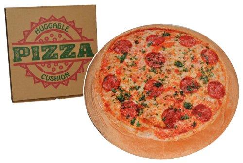 Kissen als Pizza 42 cm * 42 cm Kuschelkissen / Sitzkissen / mit Pizzaschachtel - Pizzakissen - groß sehr weich für Kinder + Erwachsene - Schmusekissen Italiener Pizzeria