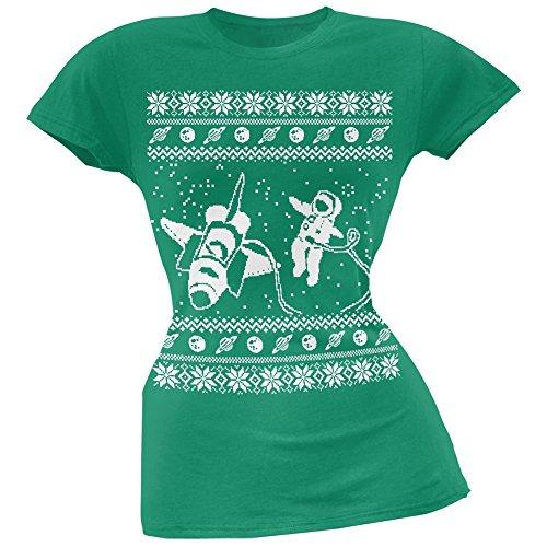 Astronaut im Space hässliche Weihnachts Pullover grün weich Juniors T-Shirt Green
