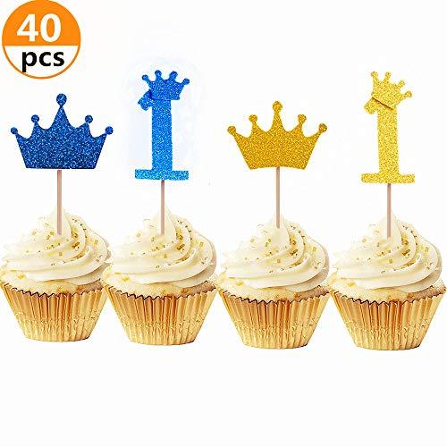 itzer Gold und Blau Prinz-Krone Cupcake Toppers One Cupcake Toppers Royal Crown Cupcake Toppers für Babyparty Jungen Geburtstag Party Dekoration ()