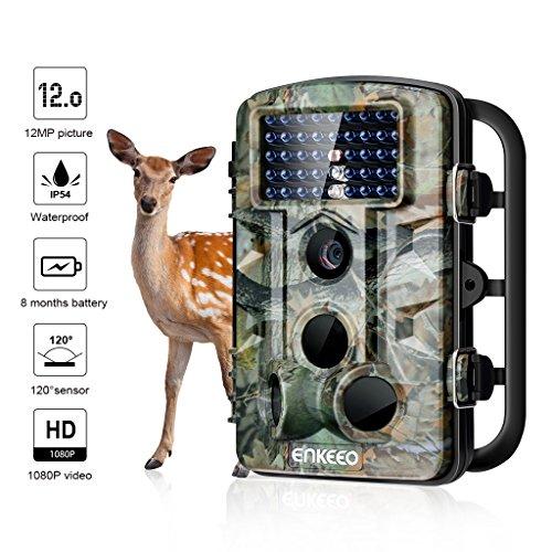 """ENKEEO Wildkamera PH730, 12MP 1080P Full HD Wasserdichte Fotofalle 120°Breite Vision Infrarote 20m Nachtsicht 2.4"""" LCD Outdoor Überwachungskamera IP54 Kamera (PH730S)"""