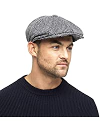 1142d3c577658f Black Grey Herringbone Newsboy 8 Panel Baker Boy Tweed Flat Cap Mens Gatsby  Hat