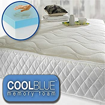 cool blue memory foam open coil mattress luxury quilted 4ft6 double size