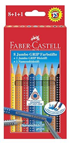 Preisvergleich Produktbild Faber-Castell 280921 - Farbstift Jumbo Grip 8er mit Bleistift und Namensfeldstift