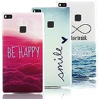 3 X Huawei P9 Lite Case Cover in Soft Silicone, Vandot Moda Creativo Ultra Sottile Colorato Pattern Cover di TPU Morbida Flessibile Protettiva Copertina Custodia per Huawei P9 Lite - Be Happy/ Smile/ I Refuse