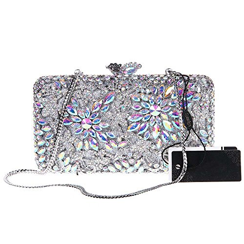 Borsa Da Sera Con Pochette Da Donna Borsa Da Sera Con Pochette In Cristallo Glitter Con Catene Sostituibili Di Santimon (7 Colori) In Argento