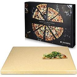 Navaris Pierre à Pizza pour Four XXL - Plaque de Cuisson Pâtisserie Pain Tarte Flambée - Pierre Pizza Rectangulaire Barbecue Grill - en Cordiérite