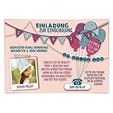 Einschulung Einladungskarten (10 Stück) erster 1. Schultag Einschulungskarten - Fahnen Girlande in Rosa