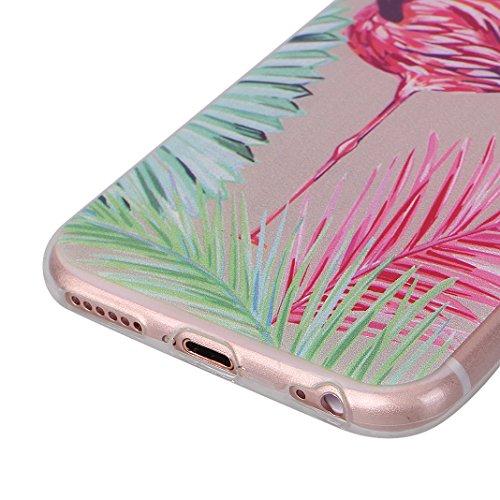 Cover Soft per iPhone 6 Plus / 6S Plus, Asnlove Morbida Caso Ultra Sottile TPU Gomma Gel Custodia Motif di Colore Cassa Antiurto TPU Silicone Trasparente Case Posteriore, Fenicotteri - Colore 5 Gruppo 3