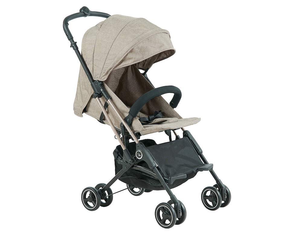 Roma Capsule² Compact Airplane Travel Buggy from Newborn Only 5.6 kgs + Rain Cover, Insect Net and Travel Bag - Tweed with a Rose Gold Chassis Roma Compact lie-back stroller - suitable from newborn to 15 kgs Includes rain cover, insect net, travel bag Locked and swivel wheels, shopping basket, 1