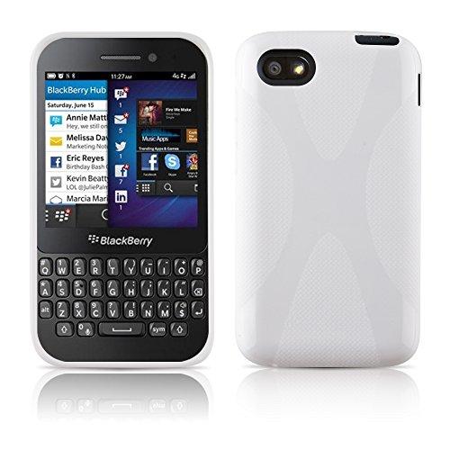 Cadorabo Hülle für BlackBerry Q5 Hülle in Handyhülle aus flexiblem TPU Silikon im X-Line Design Silikonhülle Schutzhülle Soft Back Cover Case Bumper Magnesium Weiß