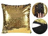 ALSINO Pailletten Kissen Glitzerkissen verschiedene Designs durch wendbare Pailletten Dekokissen schwarz gold Magischer Farbwechsel Größe 38 cm x 38 cm Ki-113