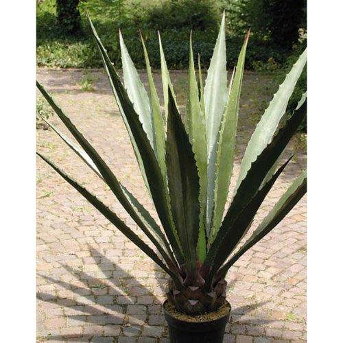 artplants Set 2 x Künstliche Agave mit 21 Blättern, grün-grau, 120 cm – künstliche Dekorationspflanzen